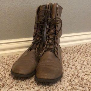 Gray Steve Madden Combat Boots